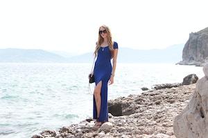 nafplio greece blue maxi dress