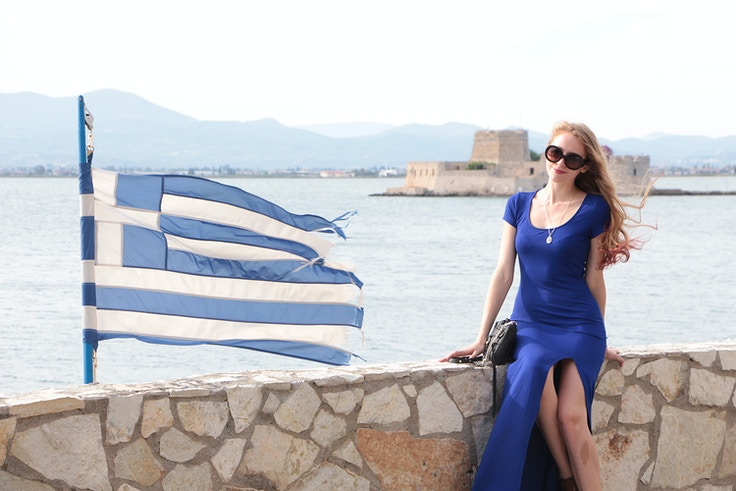 nafplio greek flag cobalt blue dress
