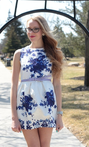 natalie ast style ambassador blue and white dress