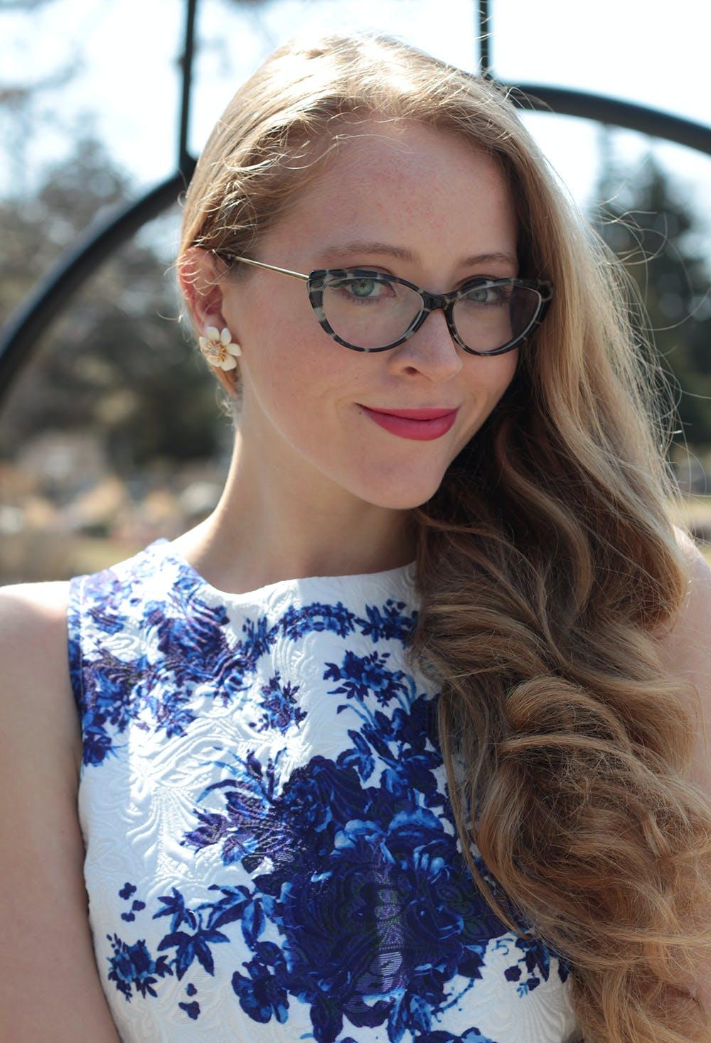 Mad Men Style: YSL cat-eye glasses & blue floral dress