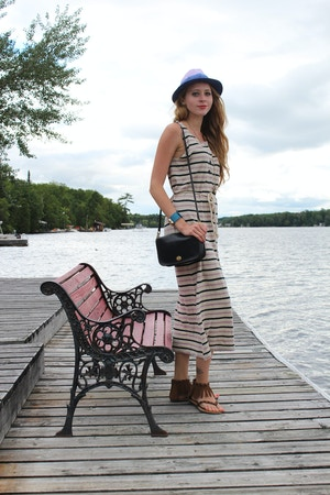 nautical striped maxi dress