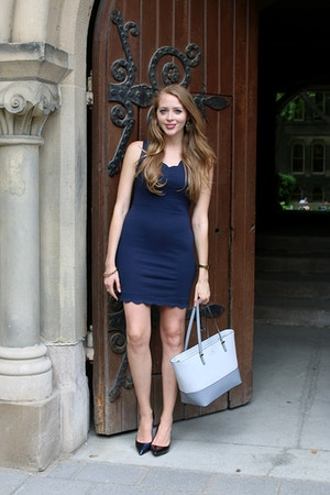 navy scalloped dress for work
