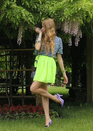 neon green aa skirt