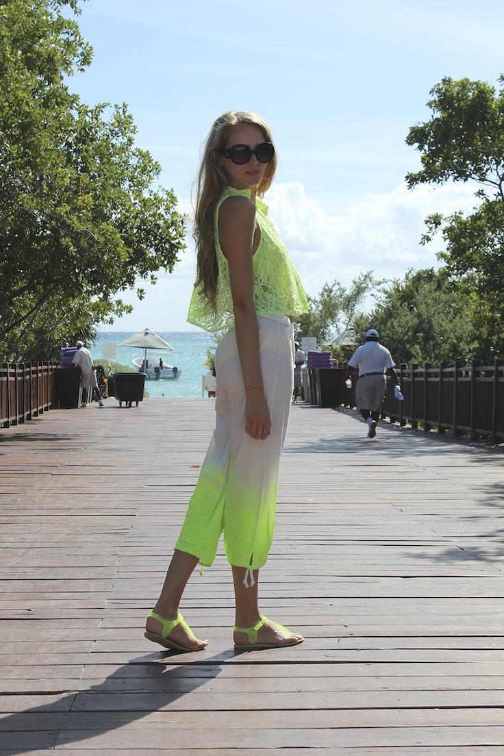 neon green ombre pants