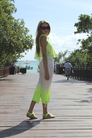 neon green ombre pants