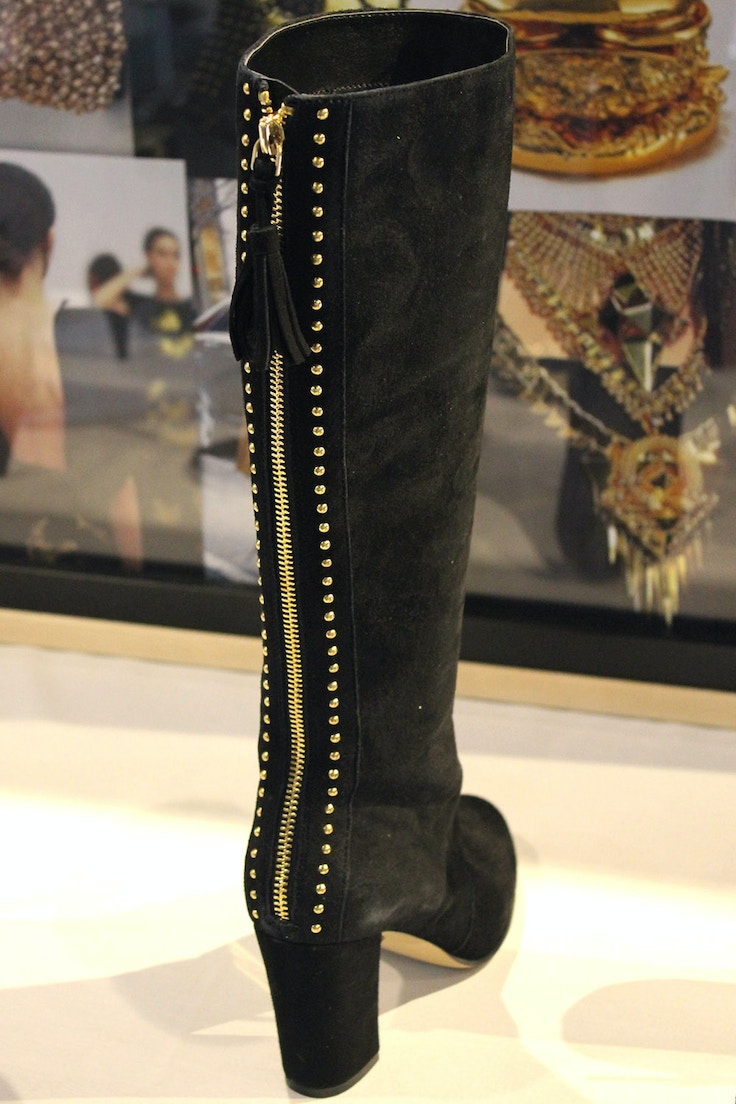nine west black suede boot with gold zipper