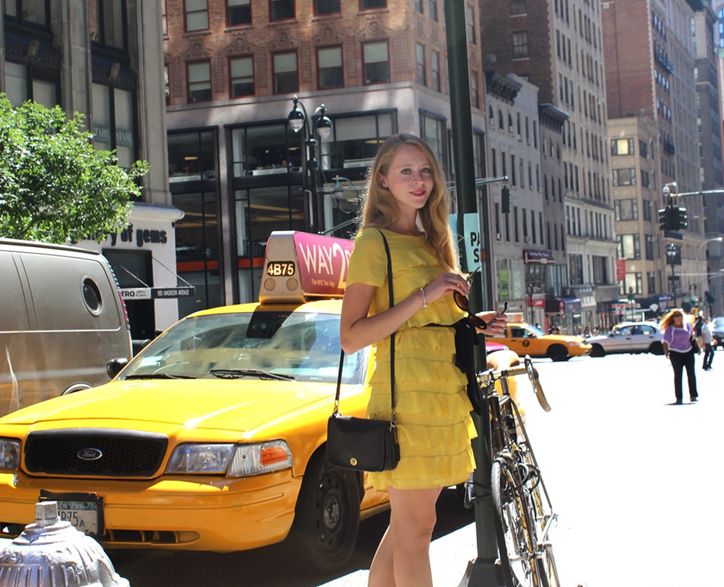nyc yellow taxi cab h&m yellow ruffle dress streets of new york
