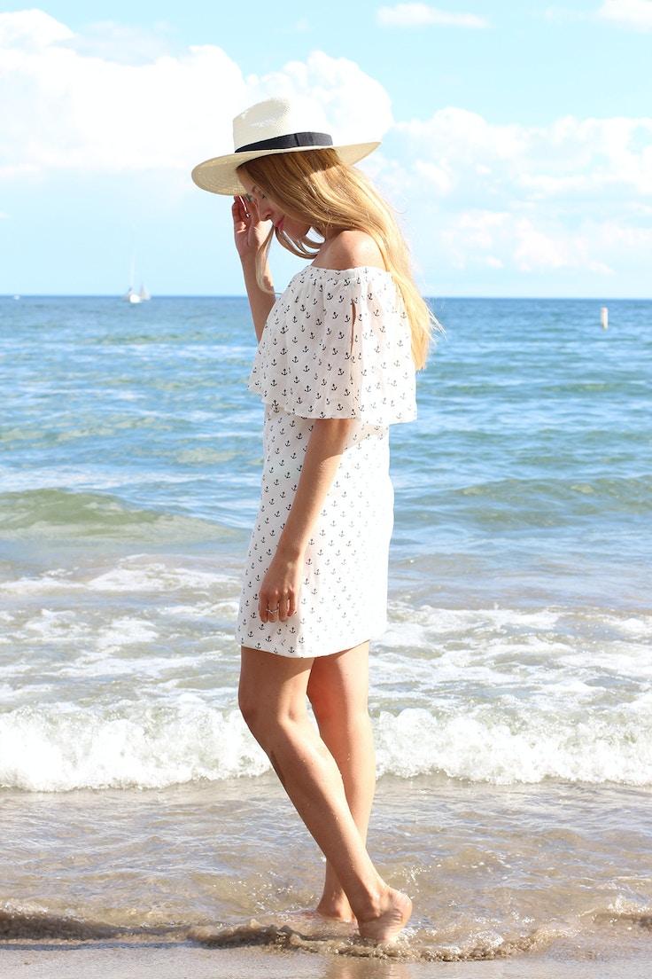 off the shoulder zara anchor print dress