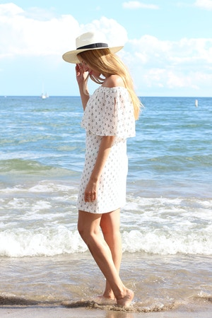 off the shoulder zara anchor print dress