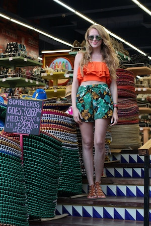 orange crop top floral shorts