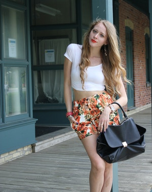 orange floral shorts and crop top