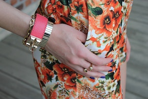 orange floral shorts hermes bracelet