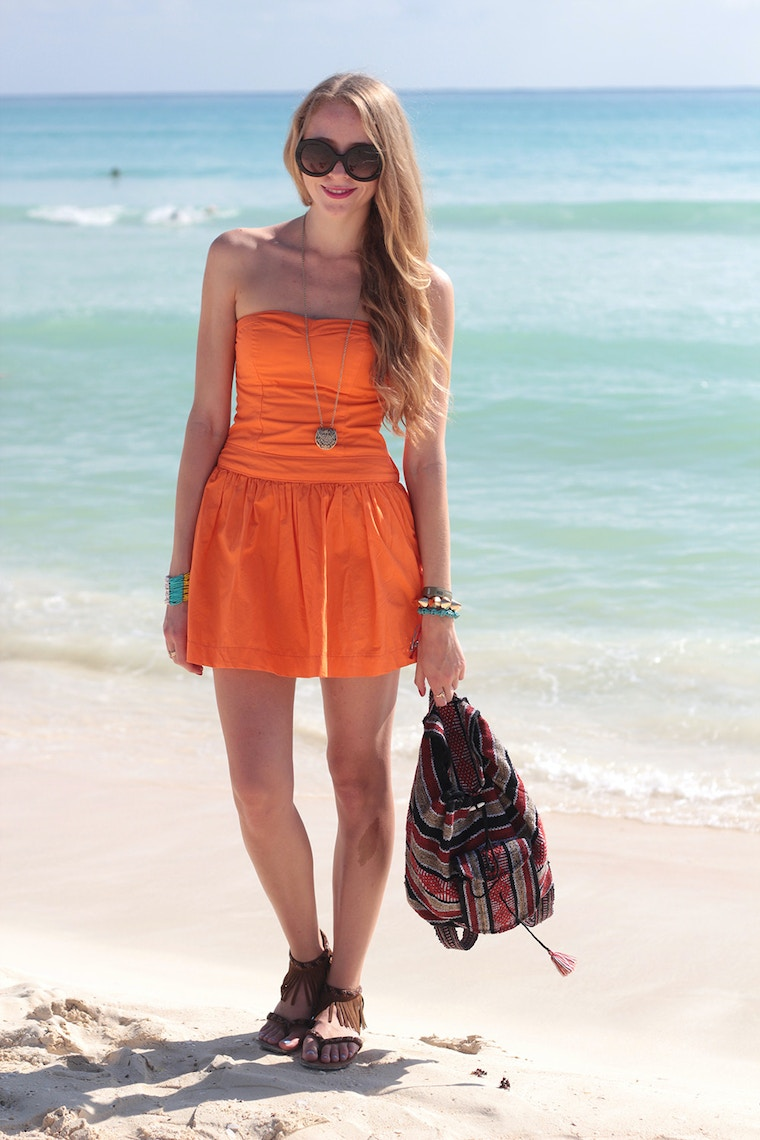 orange hollister dress