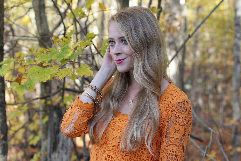Canadian Thanksgiving: Orange lace dress