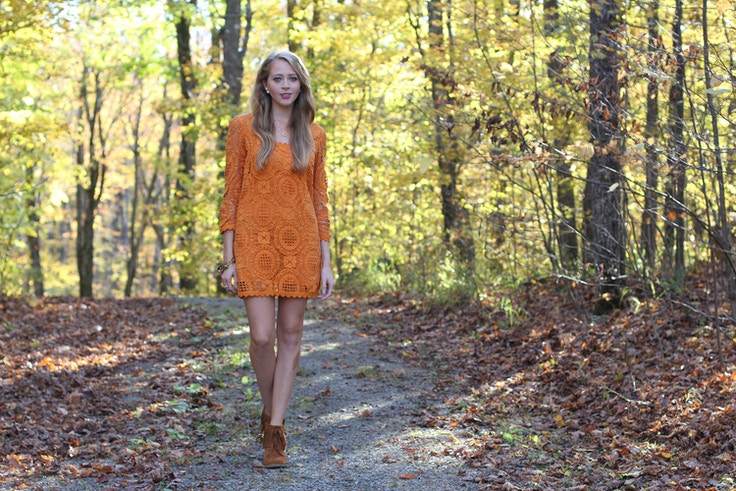 orange lace dress fcuk