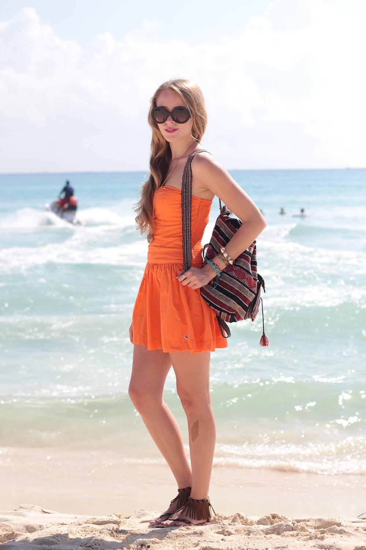 orange strapless dress