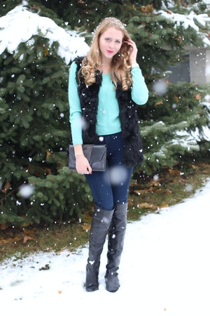 over the knee boots jeans mint sweater