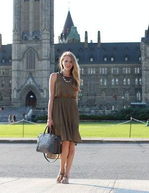 parliament hill h&m khaki chiffon dress