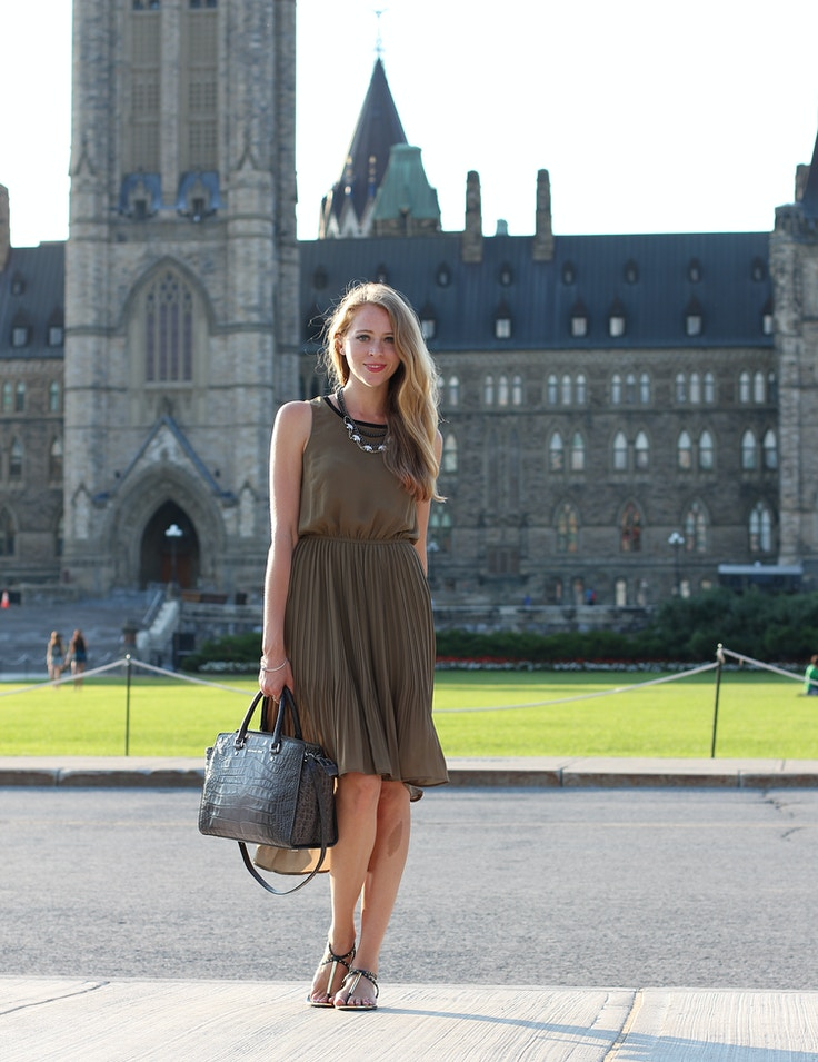 parliament hill h&m khaki chiffon dress