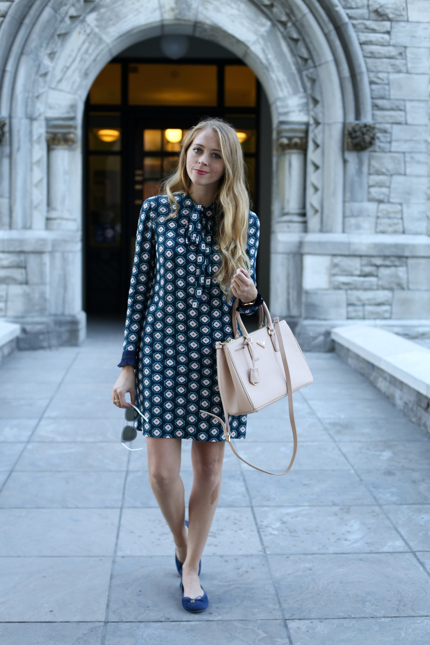 Work Wear Wednesday: Patterned Bow Neck Dress