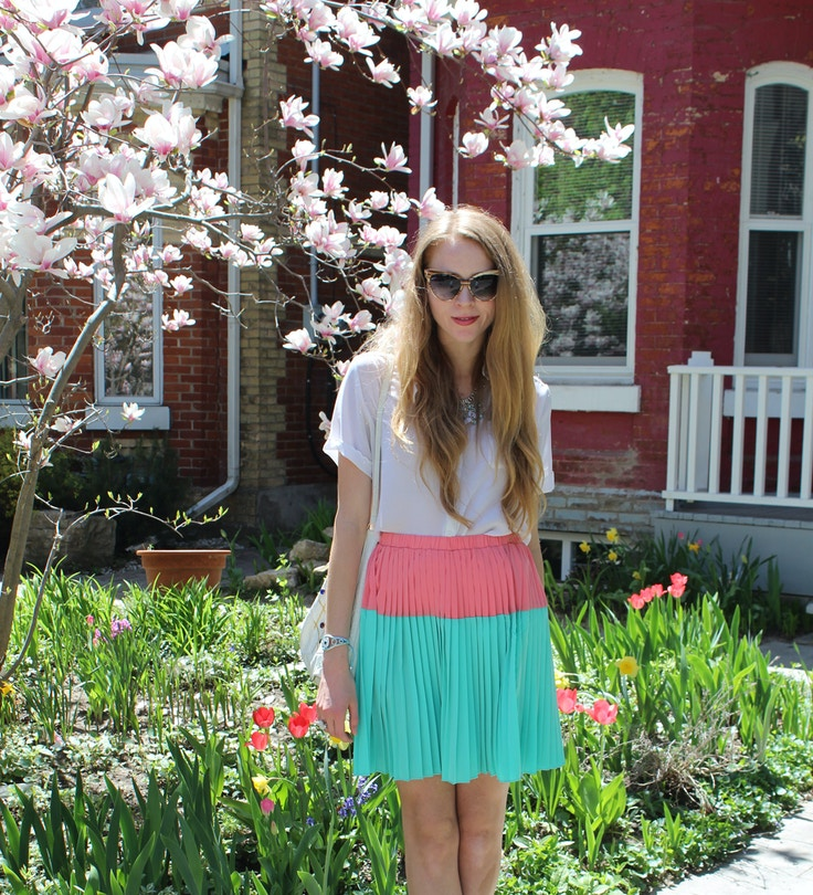 peach and mint skirt