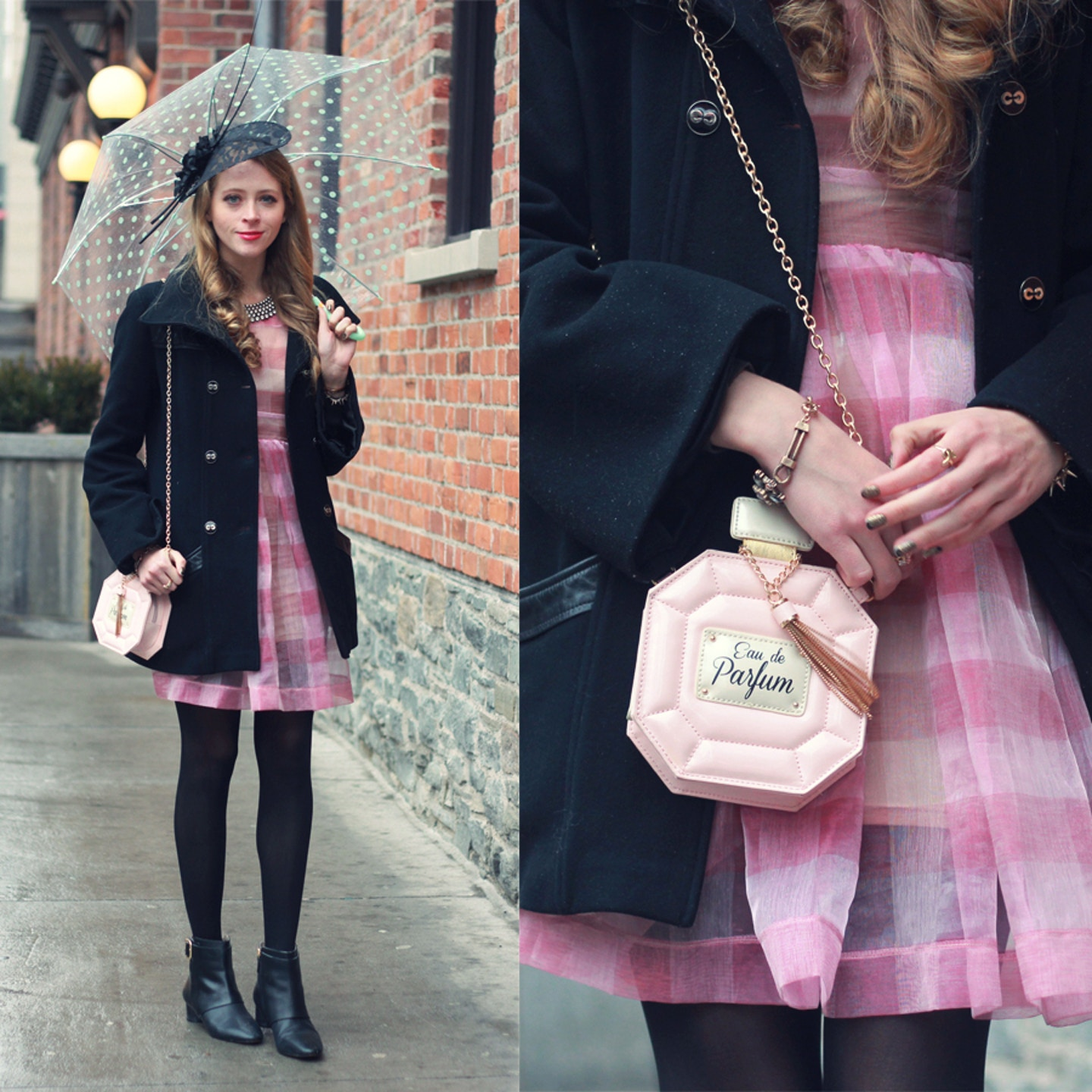 What I wore to WMCFW Day 3: Mackage, stripes and a perfume purse
