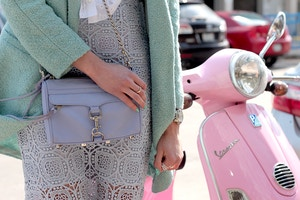 periwinkle rebecca minkoff mini mac mint coat