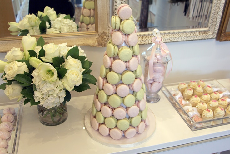 pink and green french macarons tower