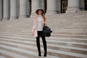 pink coat and grey hat (4 of 5)