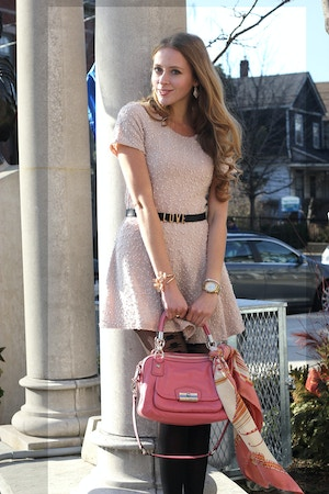pink dress and coral bag