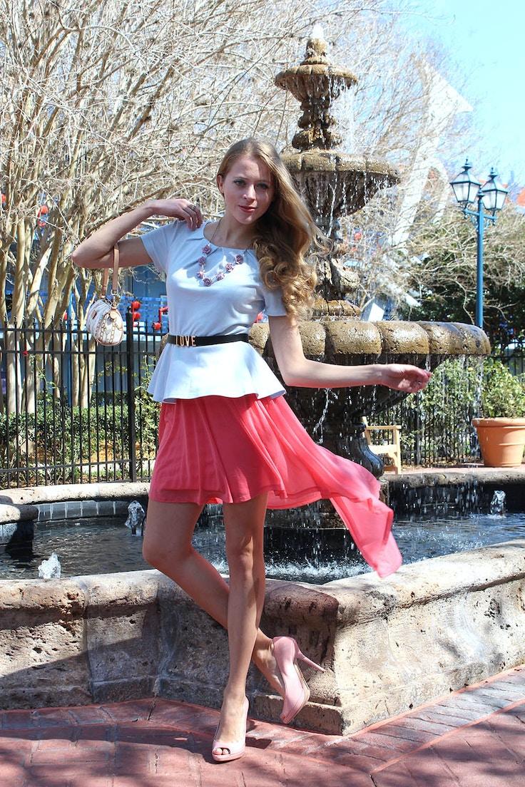 pink high low skirt peplum top