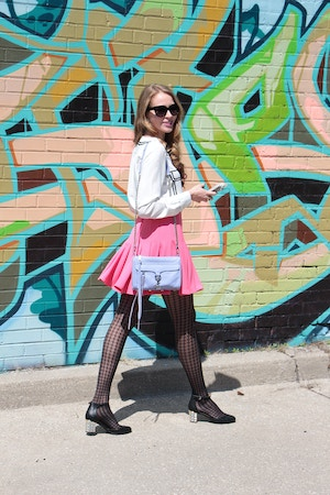 pink miranda kerr hm skirt joe fresh shirt