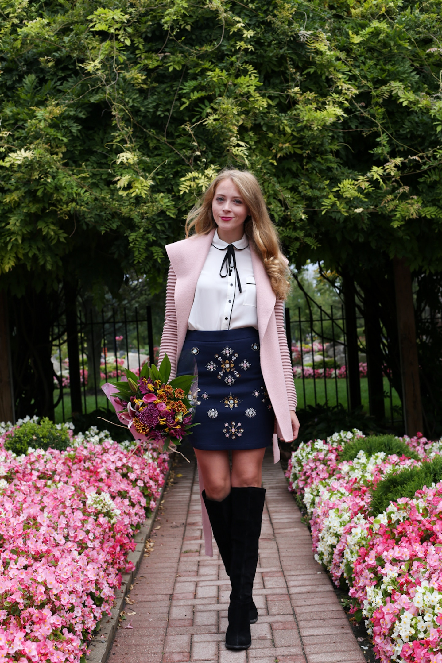 Pink coat + jeweled skirt + Trend Spin Link-Up