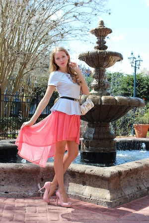 pink skirt blue peplum top