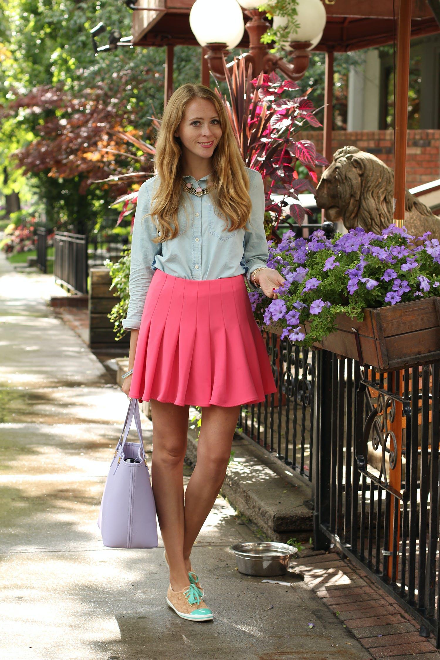Chambray denim shirt & a pink skirt