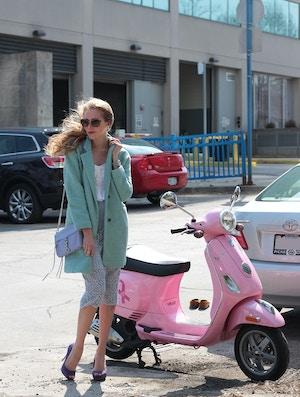 pink vespa mint coat purple lace skirt