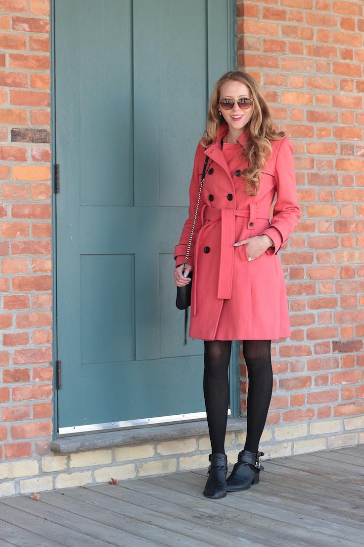 pink wool coat black piping