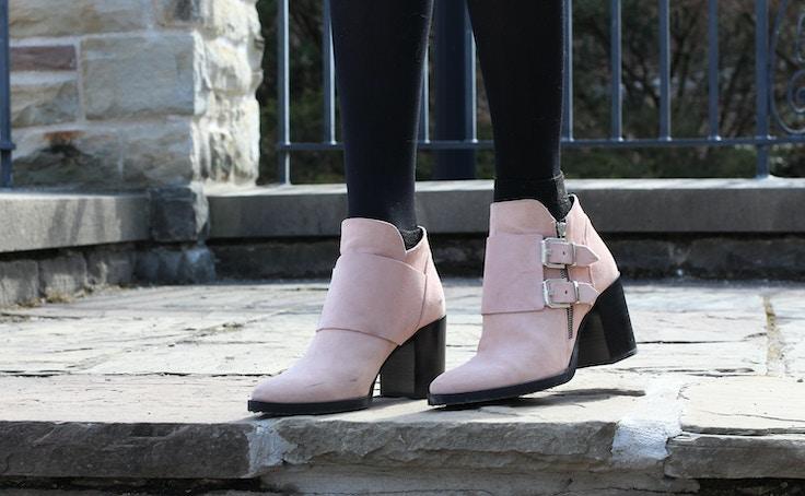 pink zara booties
