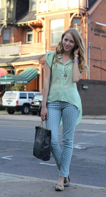 polkadot topshop jeans