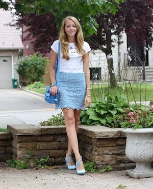 prada tshirt forever 21 blue lace skirt