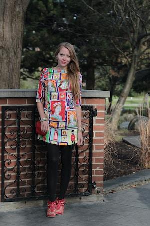 printed chiffon patriotic dress