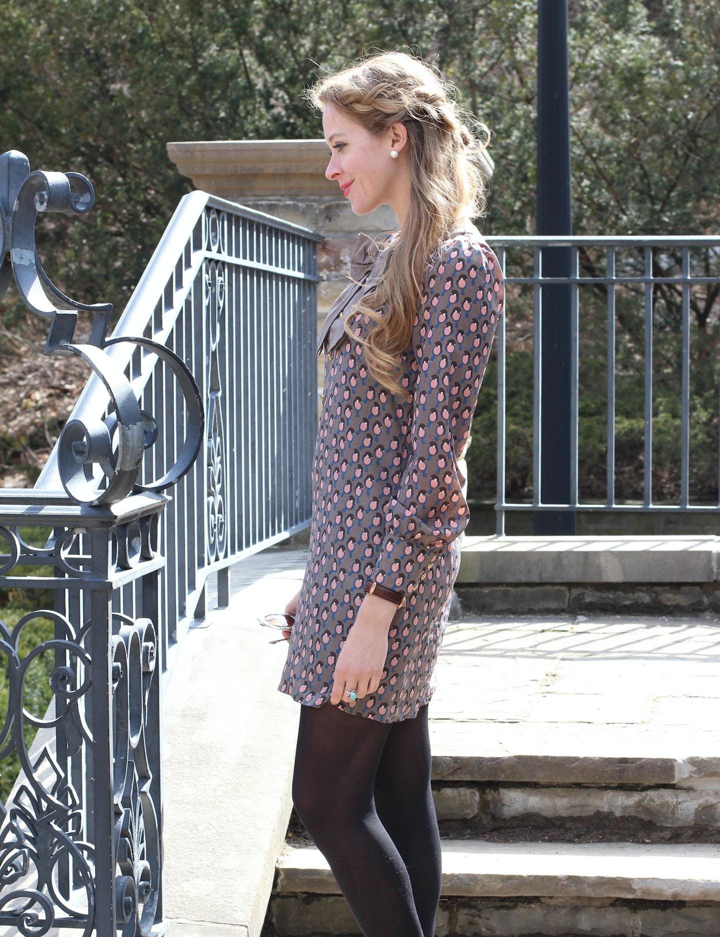 Bird printed spring dress + dutch braid crown tutorial