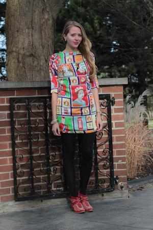 printed stamp dress