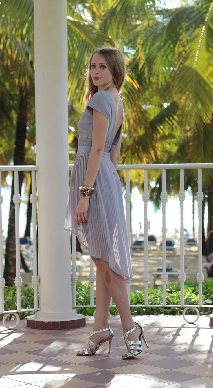 purple chiffon pleated dress