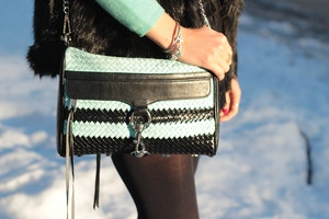rebecca minkoff mint striped mac bag