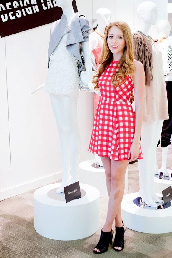 red gingham print dress design lab