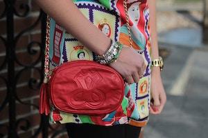 red leather tassle bag pandora bracelet