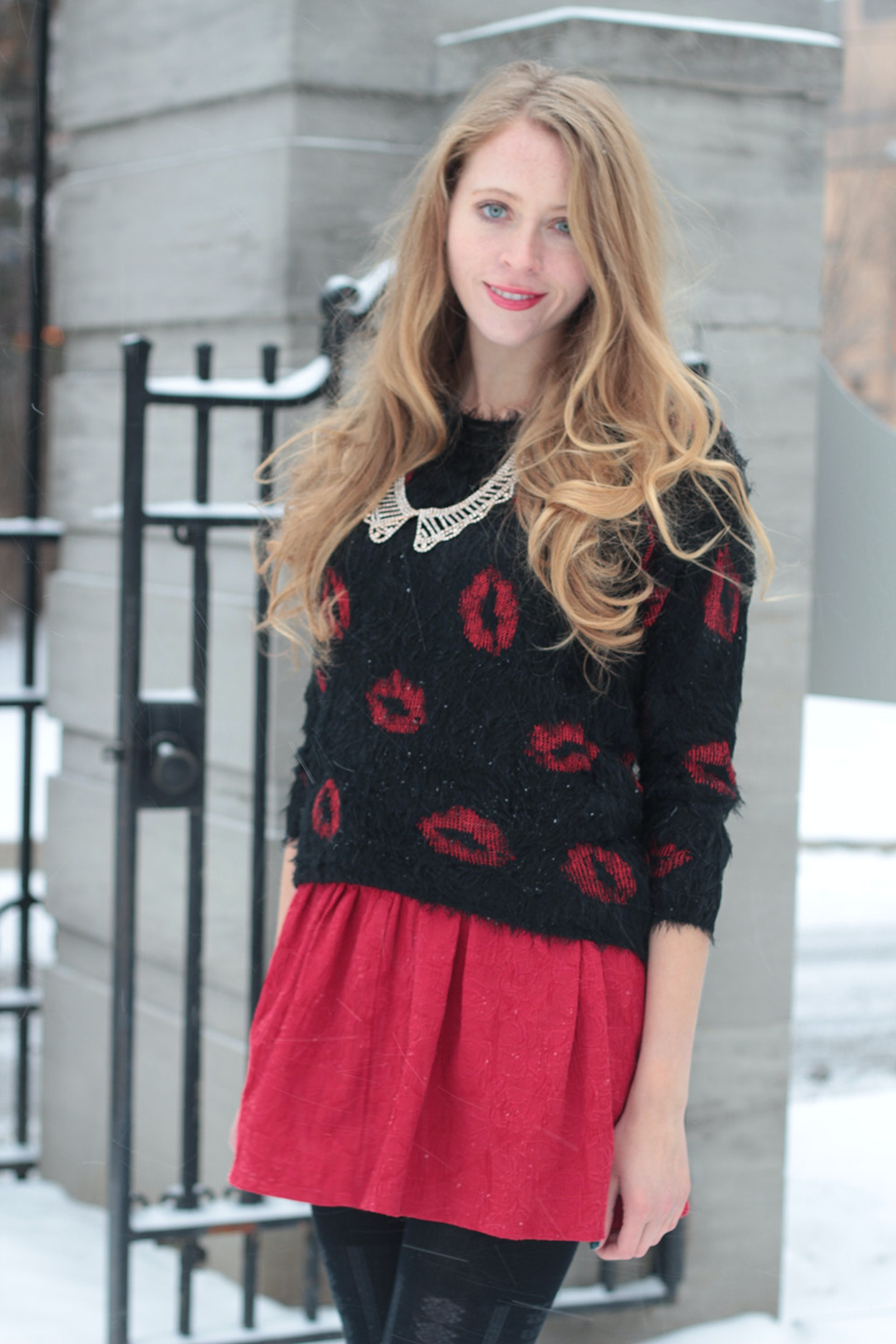 Fuzzy Lips Printed Sweater