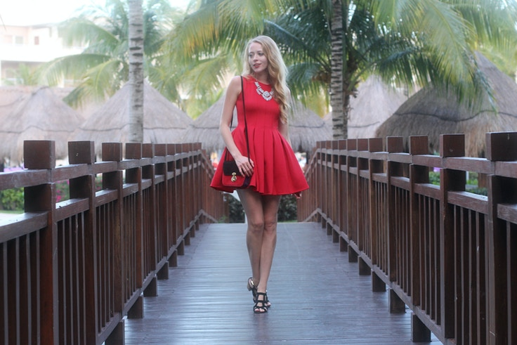 red neoprene dress the free island