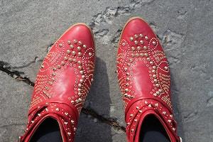 red zara booties